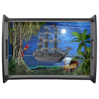 Mystical Moonlit Pirate Ship Serving Tray