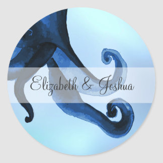 Mystical Ocean Octopus Wedding Classic Round Sticker