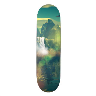 Mystical place with alien ships and buildings skate board decks