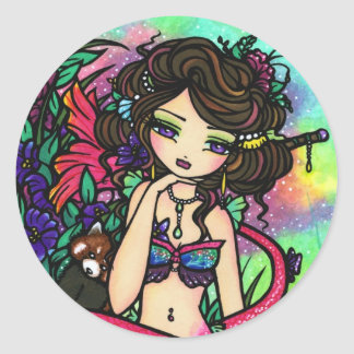 Mystical Pond Mermaid Fairy Red Panda Asian Round Sticker