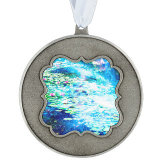Mystical Pond Scalloped Pewter Ornament