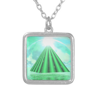 Mystical pyramid - 3D render Silver Plated Necklace