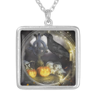 Mystical Raven Silver Square Pendant Necklace