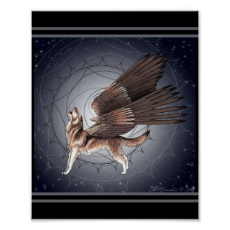 Mystical Winged Wolf Poster
