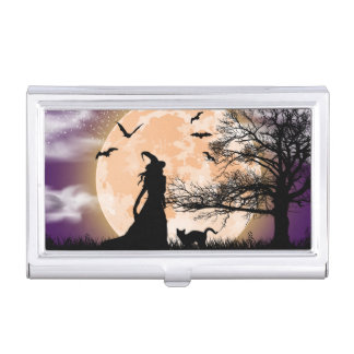 Mystical Witch and Cat Full Moon Business Card Holder