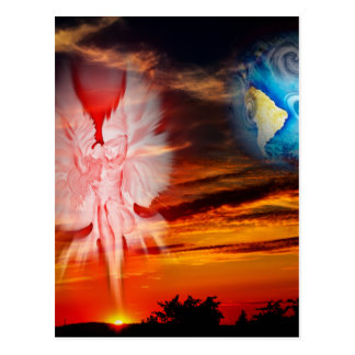 Mystical world, heavenly apparition postcard