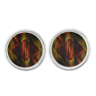 Mystique Jungle Abstract Art Silver Plated Cuff Links