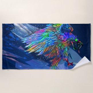 Mythical Killer Crayon Colored Eagle Beach Towel