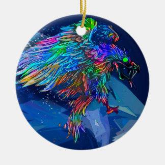 Mythical Killer Crayon Colored Eagle Ceramic Ornament