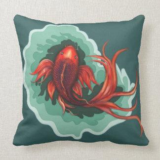 Mythical Koi Dragon Fish Throw Pillow
