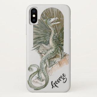 Mythical Lizard Dragon on Rocks, Vintage Mythology iPhone X Case
