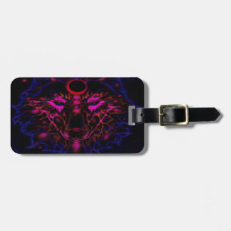 Mythical Neon Blue Wolf Luggage Tag