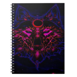 Mythical Neon Blue Wolf Notebook