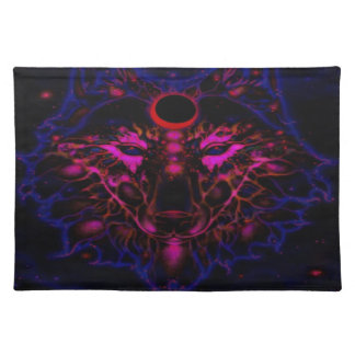 Mythical Neon Blue Wolf Placemat