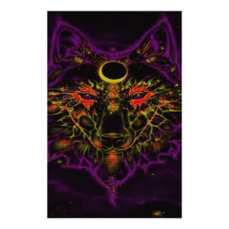 Mythical Neon Purple Wolf Stationery