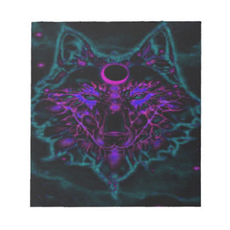 Mythical Neon Teal Wolf Notepad