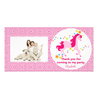 Mythical Pink Unicorn Birthday Party Thank You Photo Cards