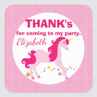 Mythical Pink Unicorn Birthday Thank You Stickers