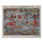 Mythical Sea Monsters old map Poster