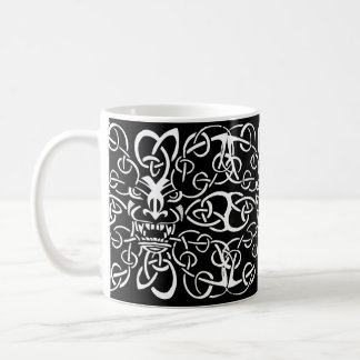 Mythical tribal tiki mask ethnic pattern design coffee mug