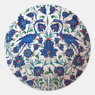 Mythological Bennu Bird Design Tile Art Classic Round Sticker