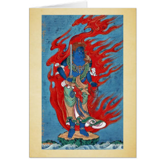 Mythological Buddhist standing on small island Card