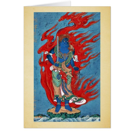 Mythological Buddhist standing on small island Card
