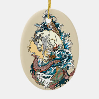 mythological sea horse ceramic ornament
