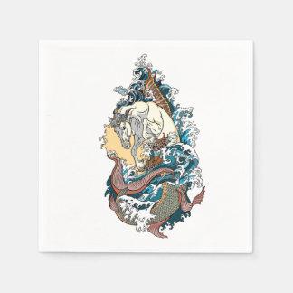 mythological sea horse disposable napkins