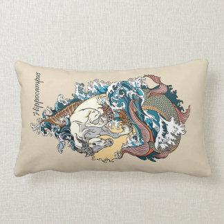 mythological sea horse lumbar pillow