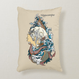 mythological seahorse accent pillow