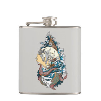 mythological seahorse hip flask