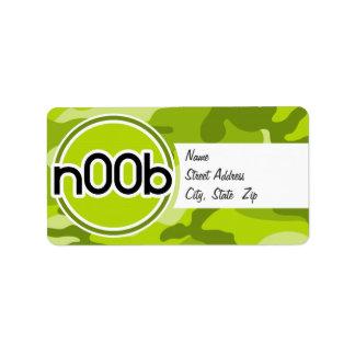 n00b camo vert clair camouflage étiquette d'adresse