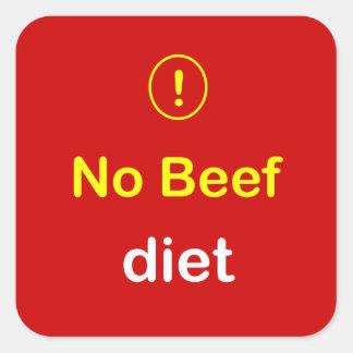n24 - Food Alert ~ NO BEEF Diet. Square Sticker