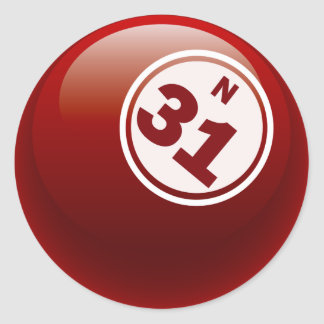 N 31 BINGO BALL CLASSIC ROUND STICKER