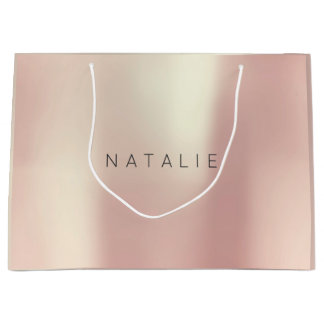 N A T A L I E Rose Gold Blush Pearly Minimal Gift Large Gift Bag