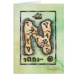 """N"" Alphabet Treasure Island Greeting Card"