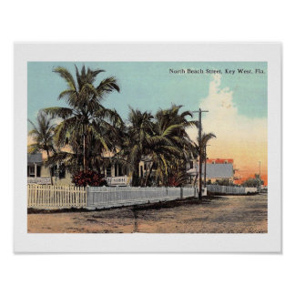 N. Beach St., Key West, Florida Vintage Poster