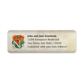 N for Nasturtium Flower Monogram Return Address Label