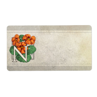 N for Nasturtium Flower Monogram Shipping Label