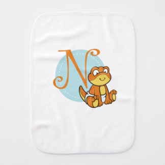 N for Newt Animal Baby Design Burp Cloth