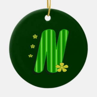 n green monogram round ceramic ornament