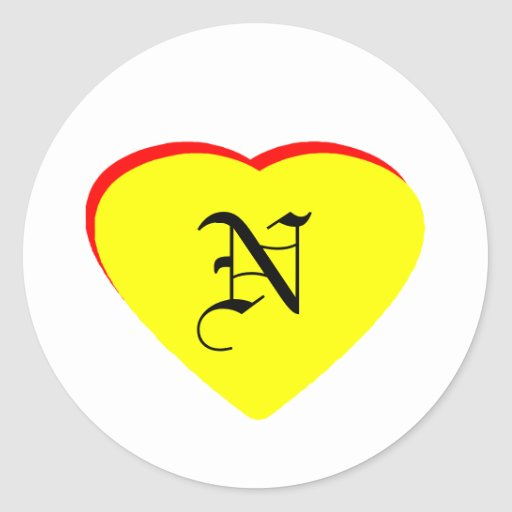 """""""N"""" Heart Yellow Red Wedding Invitation The MUSEUM Sticker"""