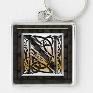 "N Initial ""Celtic Black Stone"" Key Chain"