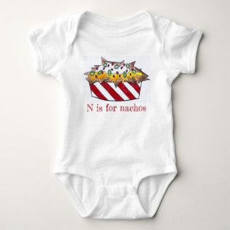 N is for Nachos Cheese Nacho Foodie ABCs Letter N Baby Bodysuit