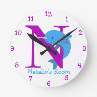 N is for Narwhal and Natalie-Child's Bedroom Round Clock