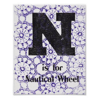 N is for Nautical Wheel Poster
