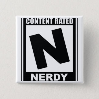 N is for Nerdy 2 Inch Square Button
