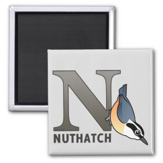 N is for Nuthatch Square Magnet