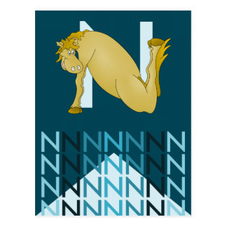 N Letter  Dark blue card Flexible pony bunting. Postcard